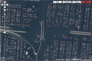 Satelite photograph, New Orleans after Katrina, see maps.google.com